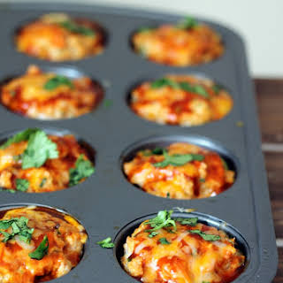 Cheesy Chicken Quinoa Enchilada Meatloaf Muffins.