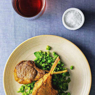Golden Lamb Cutlets With Smashed Minty Peas.