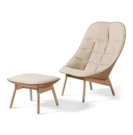 Uchiwa lounge chair och fotpall. Bolgheri och läder Silk.