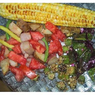 Okra Greens and Corn Saute.