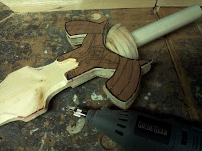 Photo: Used the rotary tool to trim out the detail area at the base of the blade for more 3D detail.