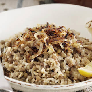 Lentils and Rice with Fried Onions.