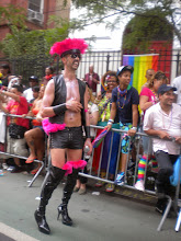 Photo: Leather, feathers and heels.  The Heritage of Pride gay pride march, Christopher Street between Seventh Avenue South and Bleecker Street, Greenwich Village, 26 June 2011. (Photograph by Elyaqim Mosheh Adam.)