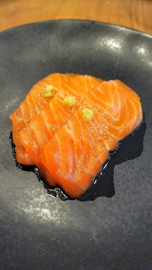 Nodoguro Twin Peaks themed dinner dish of Trout with cherry blossom soy sauce topped with a bit of fresh wasabi