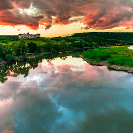 Red clouds at the sunset by Stefan Sorean - Landscapes Sunsets & Sunrises ( forest, sunrise, pine, tourism, clouds, scenic, scenery, sun, summer, rocky, scene, beautiful, mountain, view, grass, sunny, park, wildlife, sky, africa, green, natural, town, nature, shore, tree, water, stone, morning, panorama, blue, sunset, river, travel, lake, landscape )
