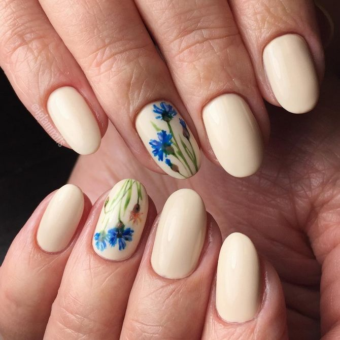 Short manicure with a pattern