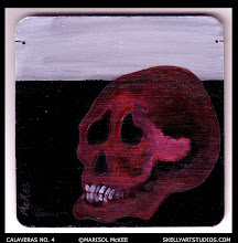 Photo: Calaveras No. 4. (sold) 4 in x 4 in x 1/8 in. Acrylic paint on MDF. Sealed with a non-yellowing glossy varnish. Signed on the front; title and signature on the back. Ready to hang (wire threaded through). Sold to a collector in Washington. ©Marisol McKee.