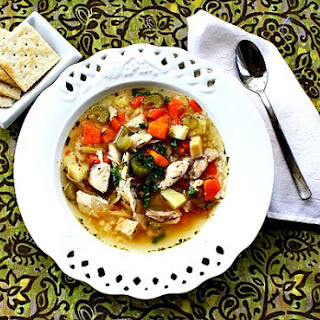 Vegetable and Chicken Soup with Sweet Potato.