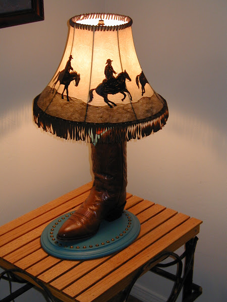 Photo: Set of 2 cowboy boot lamps with hand painted shades