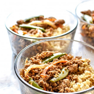 Meal Prep Ground Turkey Snap Pea Stir Fry Rice Bowls.