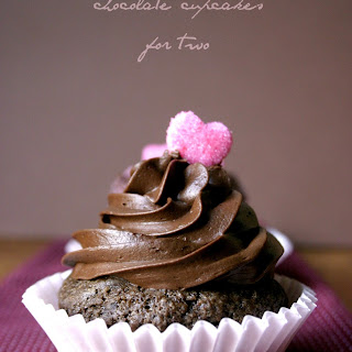 Chocolate Cupcakes For Two with Whipped Ganache Frosting