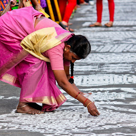 a lady, about to finish her artistry work by Venkat Krish - City,  Street & Park  Street Scenes ( #chennai, #lady, #street, #pattern, #designs )