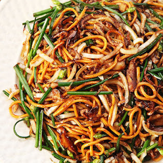 Stir-Fried Lo Mein With Charred Cabbage, Shiitake, and Chives.