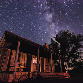 A Texas Night by Craig Curlee - Landscapes Starscapes ( old house, stars, western, nightscape, milky way )
