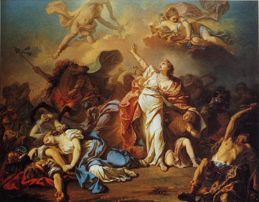 A 1772 painting by Jacques Louis David depicting Niobe attempting to shield her children from Artemis and Apollo.