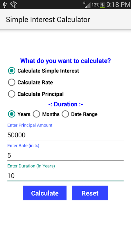 simple interest calculator 1 8 android apps appagg com
