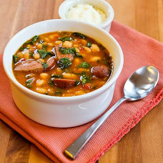 Slow Cooker Kielbasa and White Bean Stew Recipe with Tomatoes and Spinach (Gluten-Free, Can Freeze)