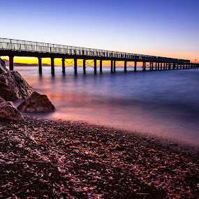 Pier by Theodoros Theodorou - Buildings & Architecture Bridges & Suspended Structures ( sunset, fujifilm, x-t1, pier, beach, cyprus )
