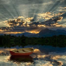 Glory Lake by Charlie Alolkoy - Digital Art Places ( water, sunset, lake, boat, sun, rays )