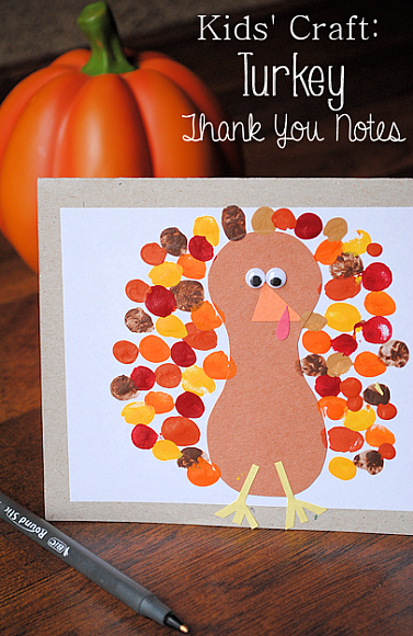 Turkey Thank You Card: These 25 Thanksgiving Crafts for Kids will get everyone into the thanksgiving spirit.