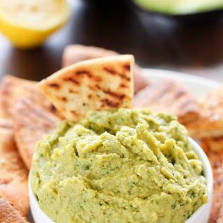 Avocado Hummus with Homemade Baked Pita Chips