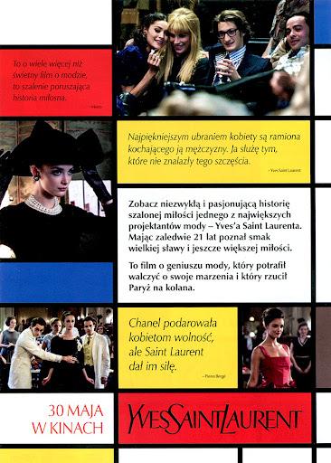 Tył ulotki filmu 'Yves Saint Laurent'