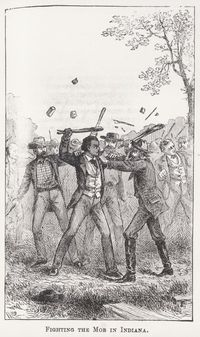 Fighting the mob in Indiana, illustration from Douglass's 1892 autobiography, Life and Times of Frederick Douglass. Courtesy of University of North Carolina, Chapel Hill.