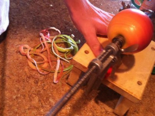 Preheat oven to 325. I use my apple-corer-peeler-slicer when I think of it, or just...