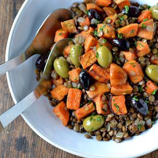 Warm Lentil Salad with Sweet Potato & Olives