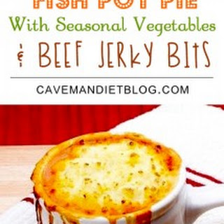 Fish Pot Pie with Seasonal Vegetables & Beef Jerky Bits Recipe