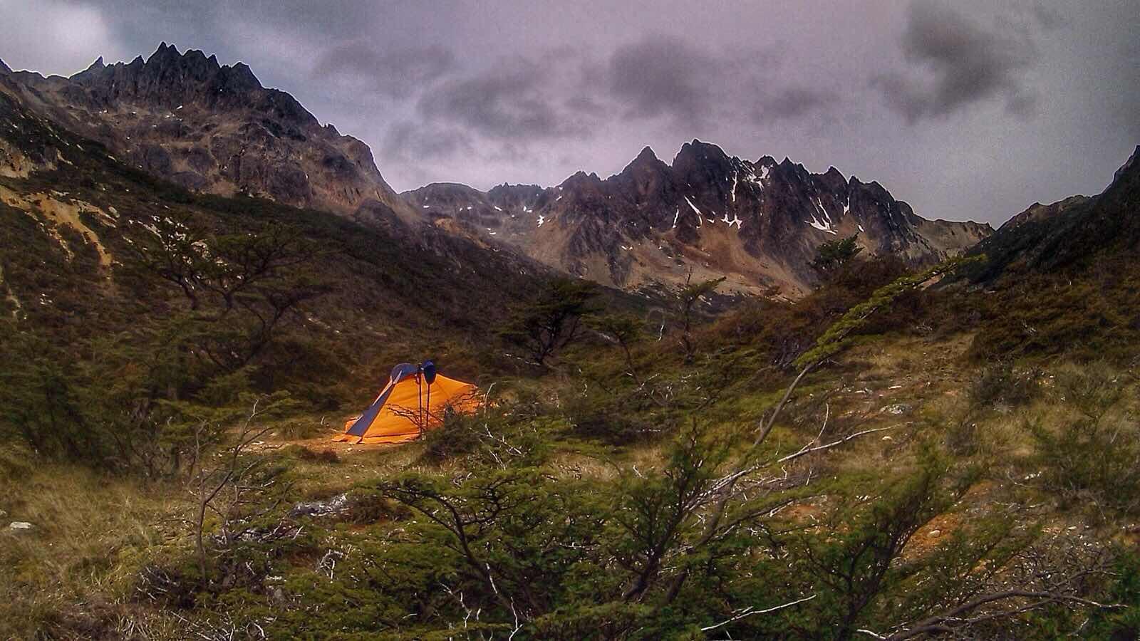 Camping in Tierra del Fuego, Argentina