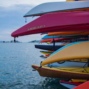 Kayaks by H. Ava-Lyn Smith - Transportation Boats ( water, oil water artt photography, canada, kayaks, toronto, pier )