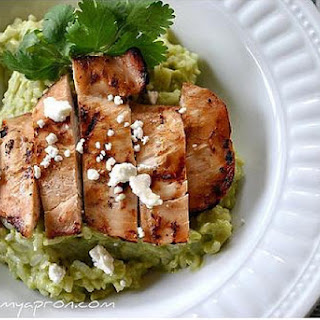 Avocado & Feta Cheese Creamy Rice With Grilled Chicken.