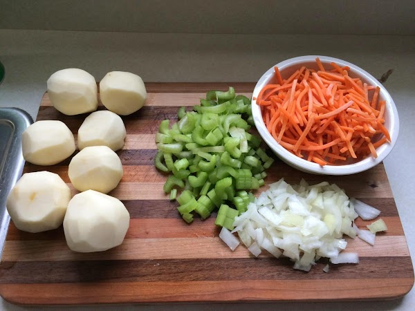 Prep all your veggies by slicing and dicing.