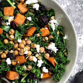 Roasted Sweet Potato Kale and Dried Cherries, Feta & Pepitas.