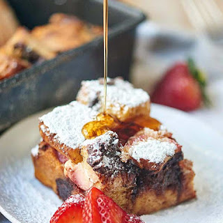 Strawberry Nutella Cream Cheese French Toast Casserole