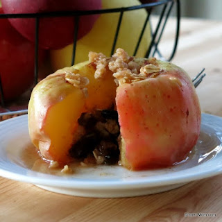Microwave Baked Apples Topped with Granola