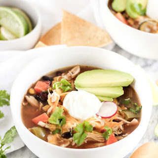 Crock Pot Vegetable Loaded Tortilla-less Chicken Tortilla Soup.