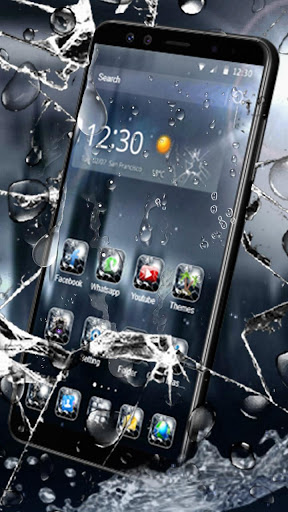 3D Rain Broken Glass Theme 1.3.19 2