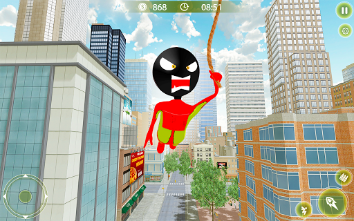 Stickman Crime City War - Stick Rope Hero Game 3 screenshots 8
