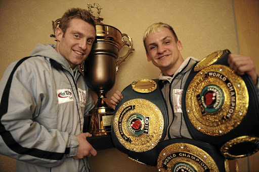 Trainer Colin Nathan, left, and his charge Hekkie Budler, whose loss to Hiroyoto Kyoguchi ended his reign as the WBA Super and the Ring Magazine junior-flyweight holder . / Tsheko Kabasia
