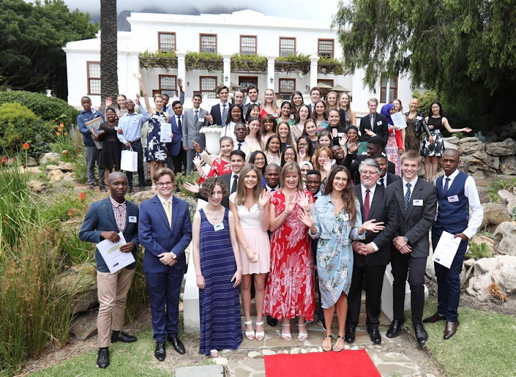 The top 20 matric pupils in the Western Cape at Leeuwenhof with education MEC Debbie Schafer on January 10 2019.