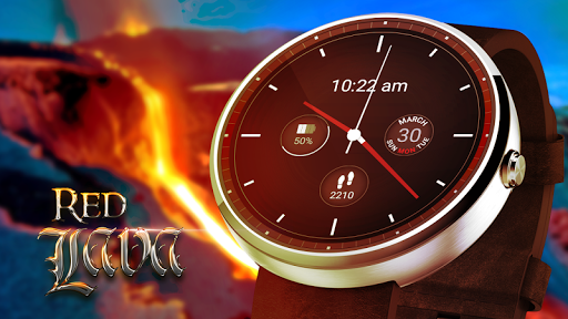 붉은 용암 아날로그 시계 얼굴