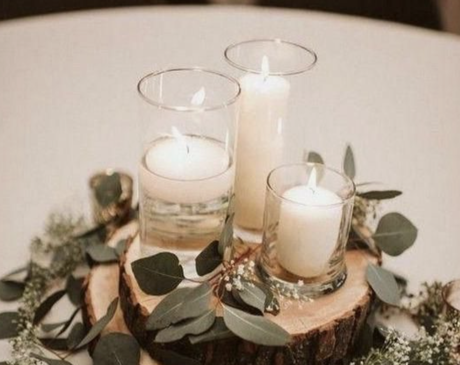 glass votive candle holders over wood plaques