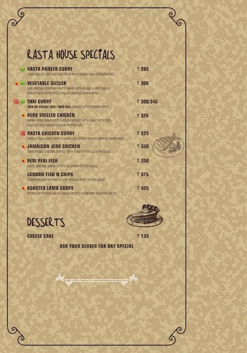 Rasta Cafe menu 5