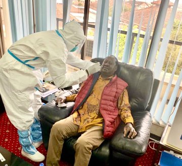 ODM Party leader Raila Odinga when he undertook a coronavirus test at Kemri in Mbaghadhi hospital.