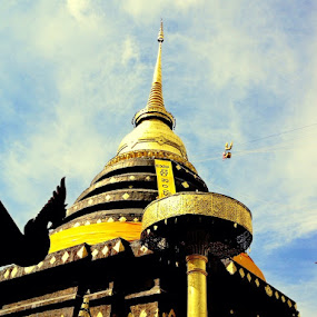 Temple by Suvajee Panmatanee - Instagram & Mobile iPhone ( temple, old, sky, blue, lanscape, gold )