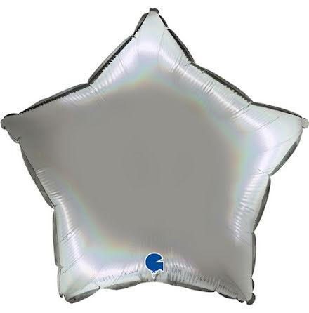 Folieballong Stjärna Rainbow - platinum pure, 46 cm