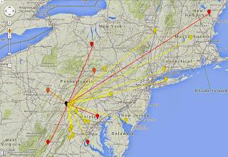Photo: K8GP/R - FM09wx 50-432 MHz QSO map - ARRL June VHF 2014 - Brn=50 Red=144 Org=222 Yel=432