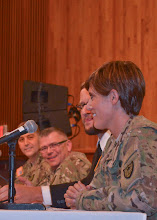 Photo: A panel of soldiers with the Minnesota National Guard Argibusiness Development Team recently returned from a year-long deployment to Afghanistan and highlighted in the recently released Twin Cities Public Television documentary 'Bridging War and Hope' produced by Luke Heikkila were available after the viewing for questions by the audience at the Beth El Synagogue in St. Louis Park, Minn. on Oct. 20.